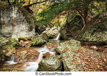 waterfall., canyon., grandiose
