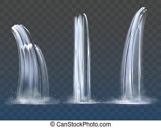 Waterfall cascade realistic water fall streams set