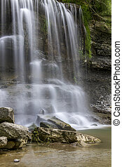 Waterfall Cascading over Sedimentary Rock - Waterfall ...
