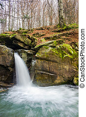 waterfall Davir on the Turichka river in the forest near...
