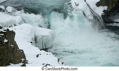 Waterfall Dettifoss in wintertime