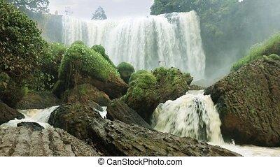 Waterfall Elephant in Dalat, Vietnam - Track shot of...