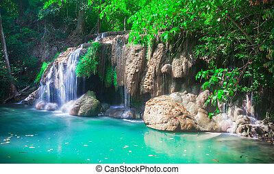 Waterfall Erawan in Kanchanaburi, Thailand