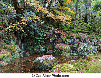 Waterfall garden at Ginkakuji temple during autumn colors in kyoto, Japan