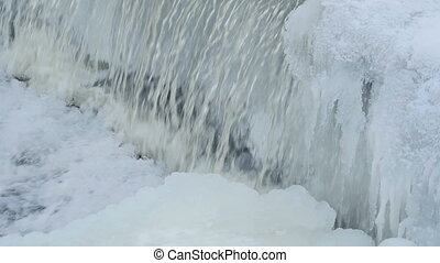 waterfall glacier white ice slow motion, close-up loop