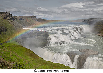 Waterfall Gullfoss and rainbow, Iceland