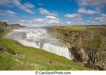Waterfall Gullfoss and rainbow, Iceland - Panoramic view of...