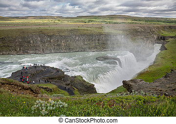 Waterfall Gullfoss, Iceland - Top view of Waterfall Gullfoss...