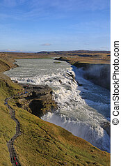 Waterfall Gullfoss in Iceland - Gullfoss waterfall is one of...
