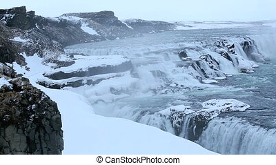 Waterfall Gullfoss in winter