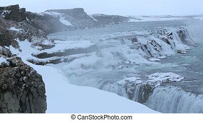 Waterfall Gullfoss in wintertime
