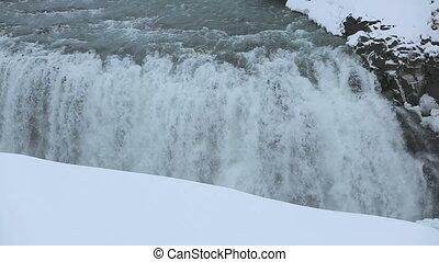 Waterfall Gullfoss in wintertime - Waterfall Gullfoss in...