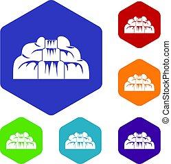 Waterfall icons set hexagon