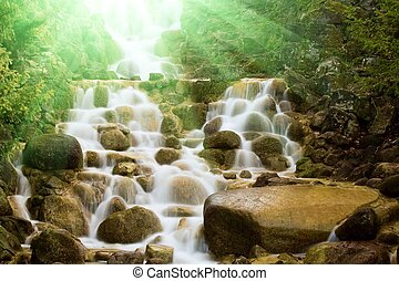 Waterfall in a forest - Sunlit waterfall in a summer forest