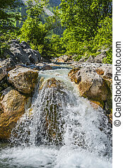 waterfall in alps - Image of a waterfall in Austrian Alps in...