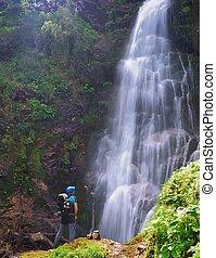 Waterfall in Asturias, Spain.
