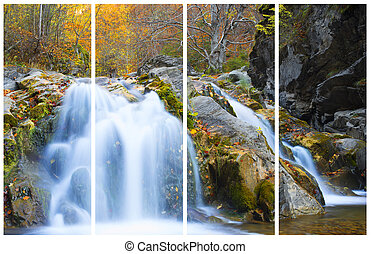 Waterfall in autumn season. Collage of a single photo.