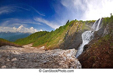 Waterfall . in Caucasus mountains, Krasnodar krai Russia