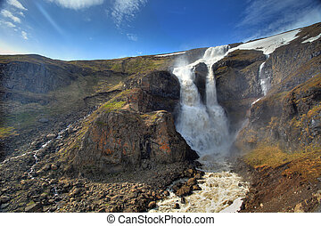 Waterfall in central mountain Iceland