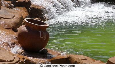 Waterfall in Creek and Pot