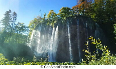 Waterfall in Croatia on a sunny day