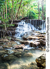 Waterfall in Deep forest at Huay Mae Kamin, Thailand