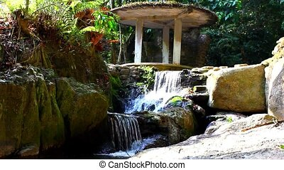 Waterfall in deep forest on Samui, Thailand. Video -...