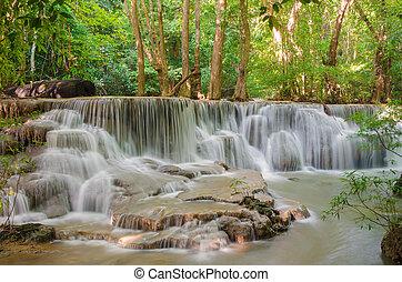 Waterfall in deep rain forest jungle (Huay Mae Kamin Waterfall i