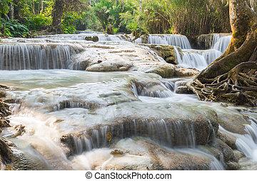 Waterfall in deep rain forest jungle
