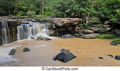 Waterfall in dipterocarp forest, Thailand