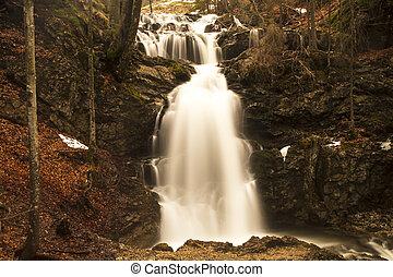 Waterfall in evening light