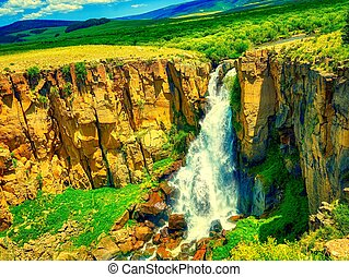 waterfall in forest on mountain