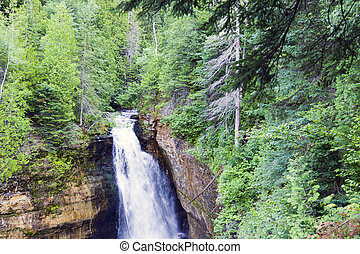 Waterfall in green forest, Michigan USA