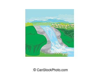 Waterfall in hills
