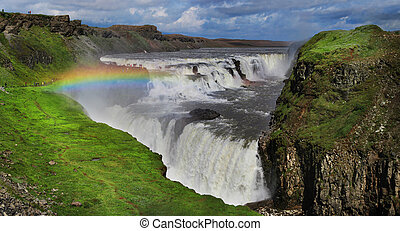 Waterfall in Iceland. Gullfoss. Summer season.