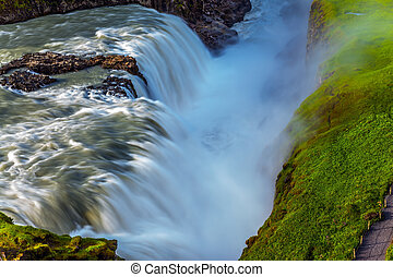 Waterfall in Iceland - Gullfoss - Sunny summer day. Huge...