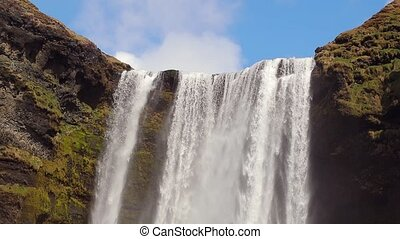Skogafoss waterfall, Iceland, slow motion from 120 fps