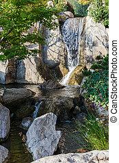 Waterfall in Japanese garden, Monte Carlo