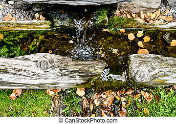 waterfall in japanese garden, photo as a background