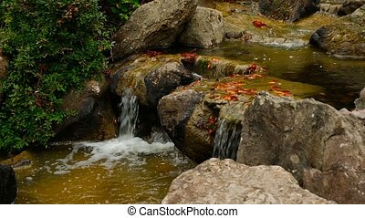 Waterfall in japanese garden, zoom in - Waterfall on rocks...