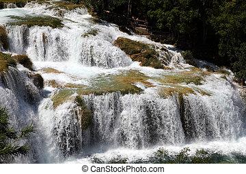 Waterfall in Krka National Park in Croatia