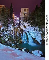Waterfall in Mountains ski resort Bad Gastein Austria