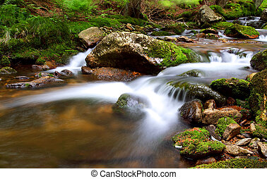 Waterfall In national park Krkonose - Czech - Cernohorsky...