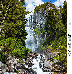 waterfall in Rainier National Park, USA