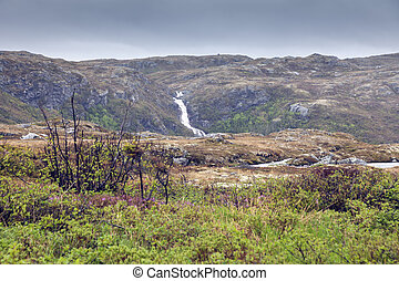 Waterfall in Rose Blanche area. St. John's, Newfoundland and Labrador, Canada.