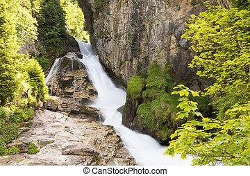 Waterfall in Ski resort Bad Gastein, Austria, Land Salzburg