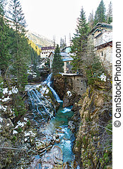 Waterfall in Ski resort town Bad Gastein, Austria, Land Salzburg