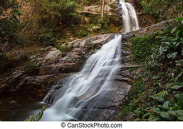 Waterfall in Thailand - Beautiful waterfall in rainforest,...