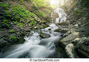 Waterfall in the forest among black stones