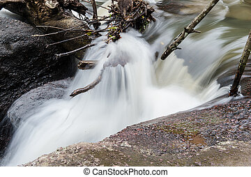 Waterfall in the forest closeup